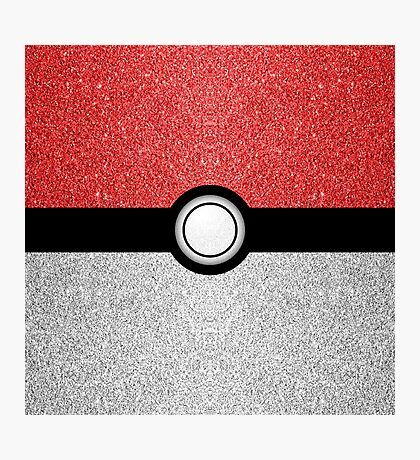 Sparkly red and silver sparkles poke ball Photographic Print
