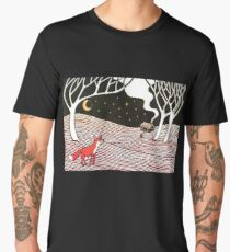 Stargazing - Fox in the Night - original linocut by Francesca Whetnall Men's Premium T-Shirt