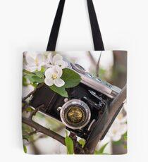 Vintage Camera Apple Blossoms Tote Bag