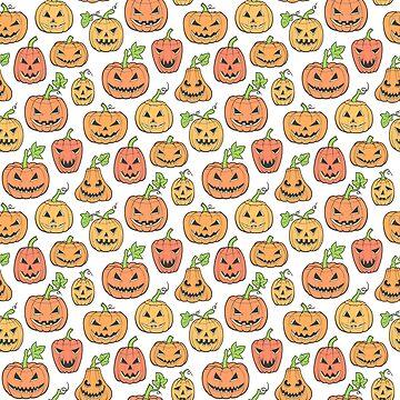 Halloween Jack-O-Lantern Scary Pumpkin Orange by CajaDesign