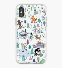 Alpine Animal Antics - original - Cute winter pattern by Cecca Designs iPhone Case