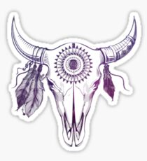 Pink Rose Bull Skull Sticker