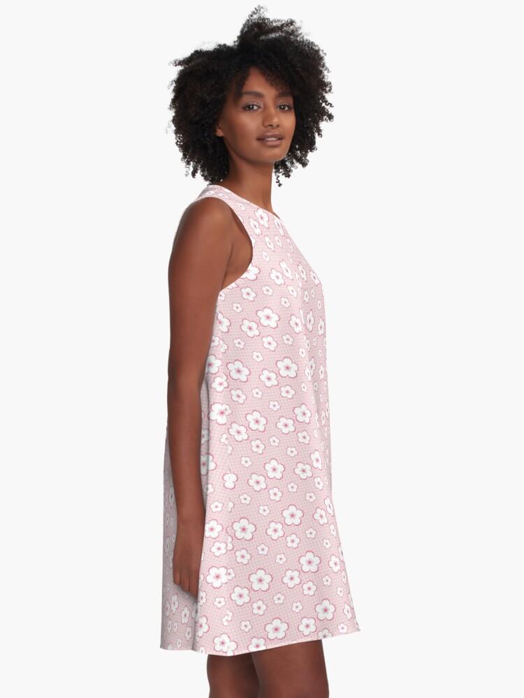 Alternate view of Sakura - white on pink checker A-Line Dress