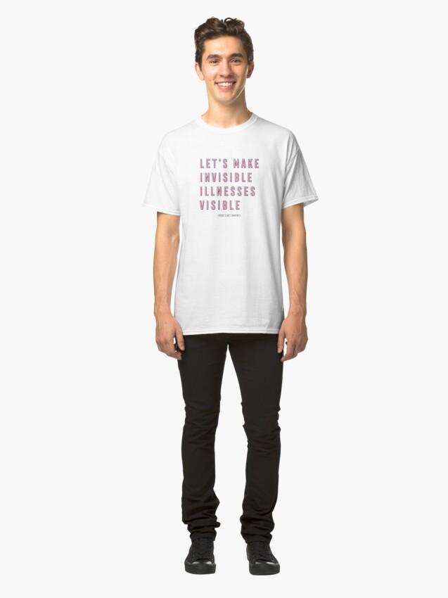 Vista alternativa de Camiseta clásica Concientización sobre enfermedades crónicas, hagamos visibles las enfermedades invisibles