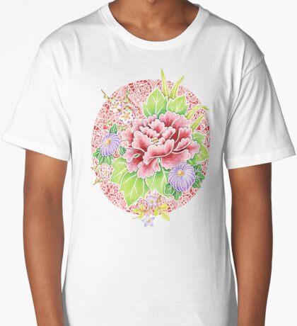Pink Paisley Kimono Bouquet Long T-Shirt