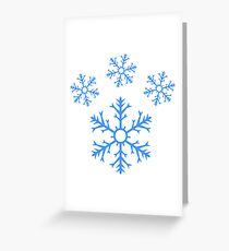 Blue Snowflake Pawprint Greeting Card