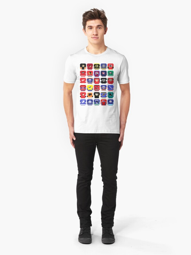 Alternate view of 8-Bit Hockey Jerseys 2 Slim Fit T-Shirt