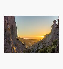 Putangirua Pinnacles at Summer Solstice Sunset Photographic Print
