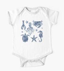Delft Blue nautical Marine Life pattern, coastal beach One Piece - Short Sleeve