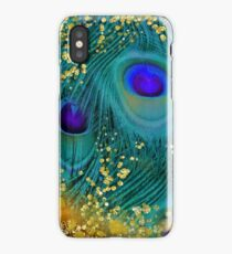 Dreamy peacock feathers, teal and purple, glimmering gold iPhone Case