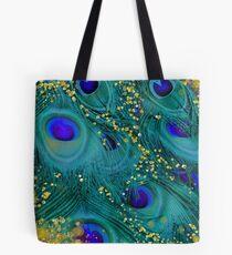 Bolsa de tela Soñadoras plumas de pavo real, verde azulado y púrpura, oro resplandeciente