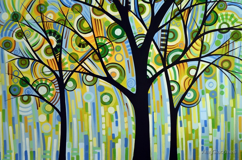 Green trees art landscape painting / Spring by AmyGiacomelli