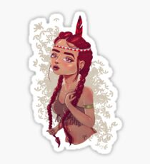 Red-Haired Punk Native Indian Girl  Sticker