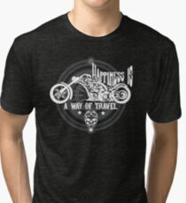 Happiness Is A Way Of Travel - Motorcycle Bikers Design Tri-blend T-Shirt