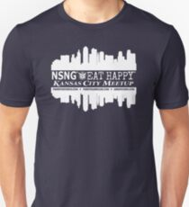 KCMO - NSNG® - Pure Vitamin Club™ - Eat Happy™ (white design) T-Shirt
