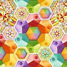 Rainbow Patchwork Hexagons by PatriciaSheaArt