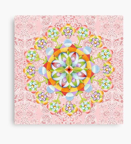 Pink Paisley Flower Mandala Canvas Print