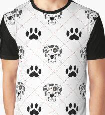 Harlequin Great Dane Paw Print Plaid Graphic T-Shirt