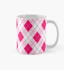 Heißer Neon Pink Large Argyll Plaid Check Tasse (Standard)