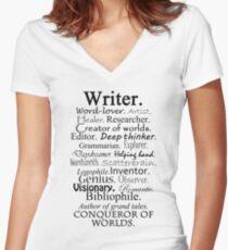 Writer Description Women's Fitted V-Neck T-Shirt