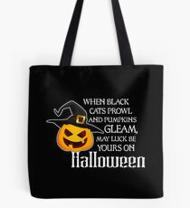 When Black Cats Prowl And Pumpkins Gleam Tote Bag