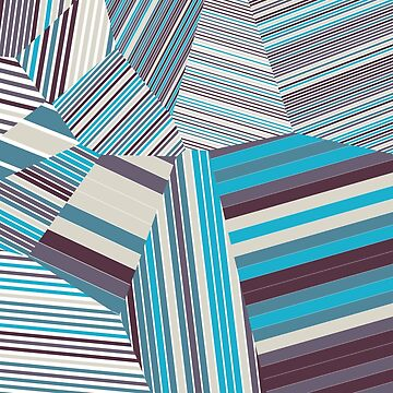 Skycraper Blues - Voronoi Stripes by EsqueDesign