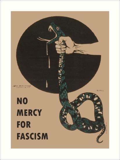 Keine Gnade für den Faschismus! - Vintage WWII Poster Design von dru1138