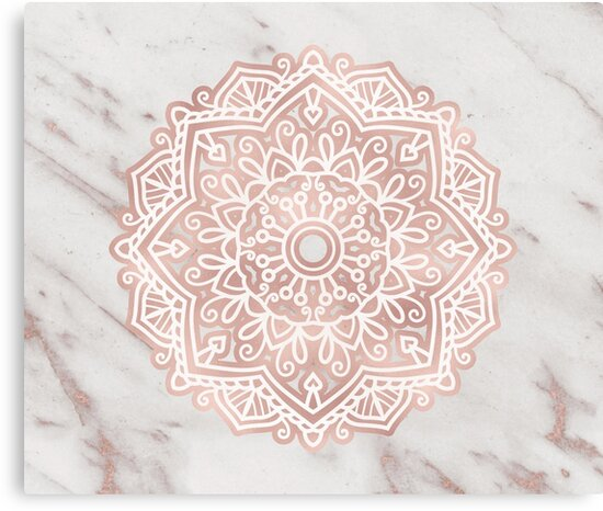Quot Rose Gold Mandala Shimmer Vein Marble Quot Canvas Print By