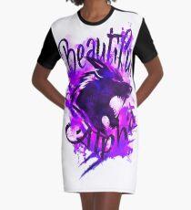 Beautiful Alpha Wolf Purple Graphic T-Shirt Dress