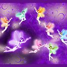 Rainbow pixies meet at night by Kartoon
