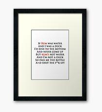 Rum poem Tee - Red and black writing Framed Print