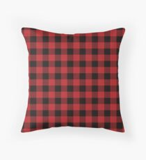 Red and Black Flannel Plaid Desigm Throw Pillow