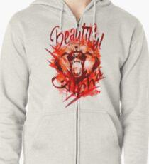 Beautiful Alpha Bear Red Zipped Hoodie