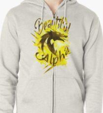 Beautiful Dragon Alpha Yellow Zipped Hoodie