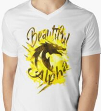 Beautiful Dragon Alpha Yellow V-Neck T-Shirt