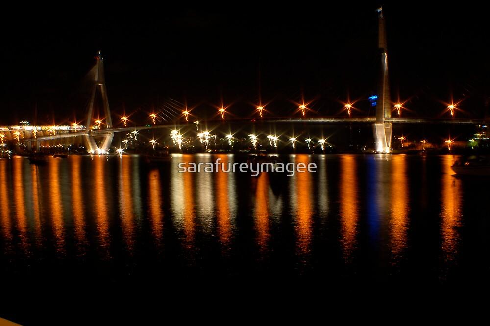 Anzac Bridge at Night by sarafureymagee