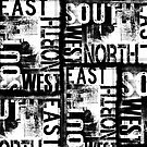 East South North West Black White Grunge Typography by artsandsoul