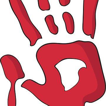 Scary, Funny Bloody Handprint by ladyeva