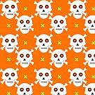 Halloween skulls pattern on an orange background by Silvia Ganora