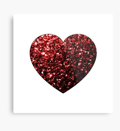 Beautiful Glamour Red Glitter sparkles Heart on white Metal Print