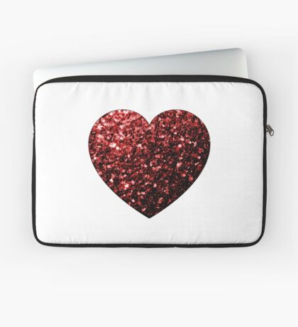 Beautiful Glamour Red Glitter sparkles Heart on white Laptop Sleeve
