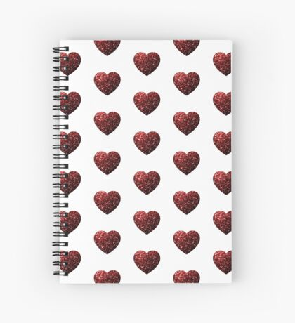 Beautiful Glamour Red Glitter sparkles Heart on white Spiral Notebook
