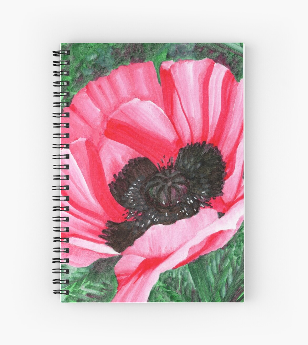 Pink Poppy Flower Pigment Marker Drawing Spiral Notebooks By Gee