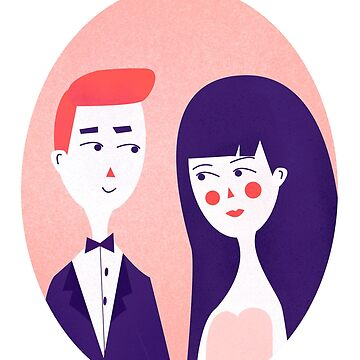 Wedding avatar cartoon people template cards for valentine's day  by Julli