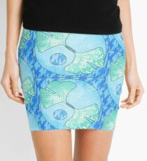 Ocean Blue Green Ginkgo Leaf Quilt Quilted Design Stylized Water Mini Skirt