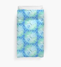 Ocean Blue Green Ginkgo Leaf Quilt Quilted Design Stylized Water Duvet Cover