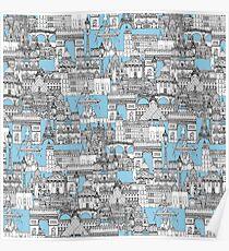 Paris toile cornflower blue Poster