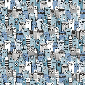 Monsters & Friends in Blue by CajaDesign