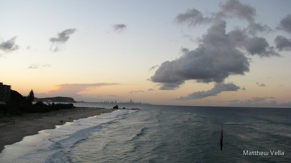 Sunset Currumbin Beach Gold Coast Australia  by Matthew Vella