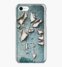 Rustic old light blue green peeling paint iPhone Case/Skin